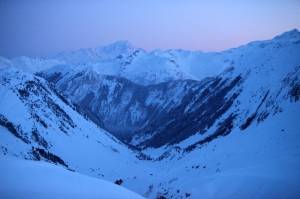 The view at dawn ' Mont Blanc ' and the ski out